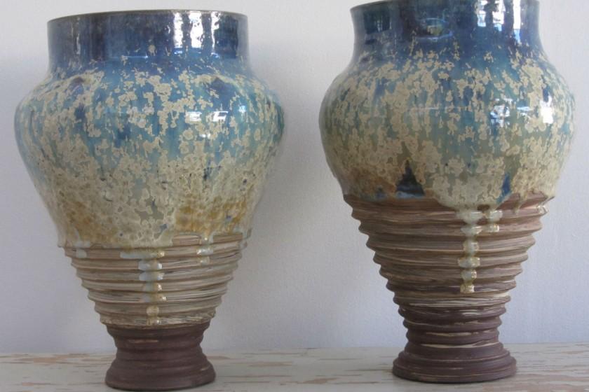 Geert Kisum - Par vaser med krystalglasur