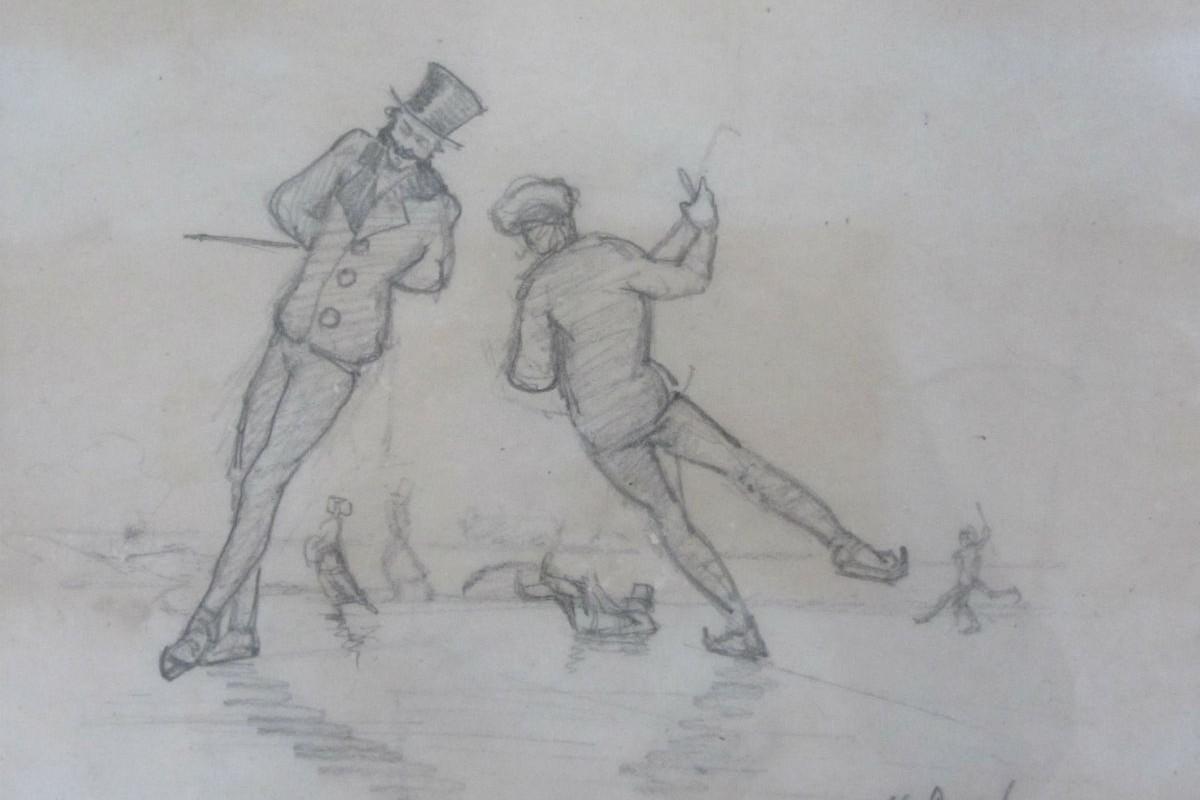 Holger Drachmann - Tegning af skøjteløbere - risom.dk