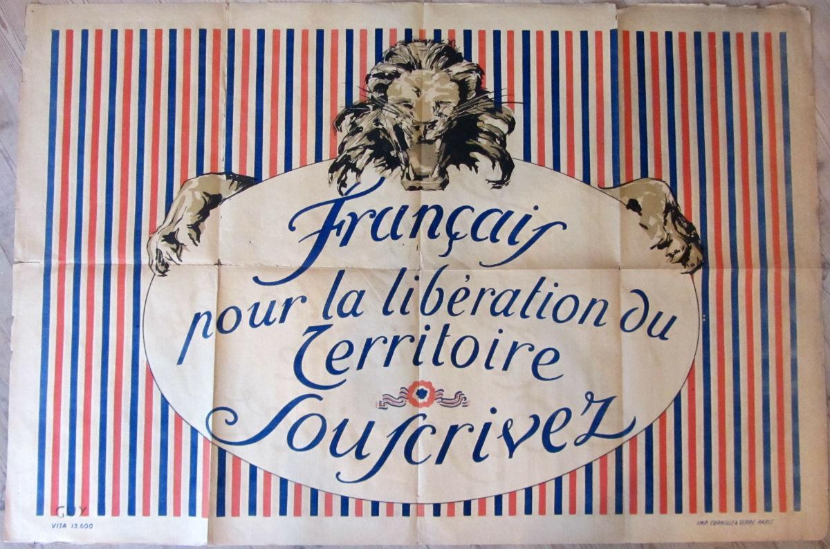 Francais Pour La Liberation Du Terrotoire Souscrivez - vintage poster - risom.dk