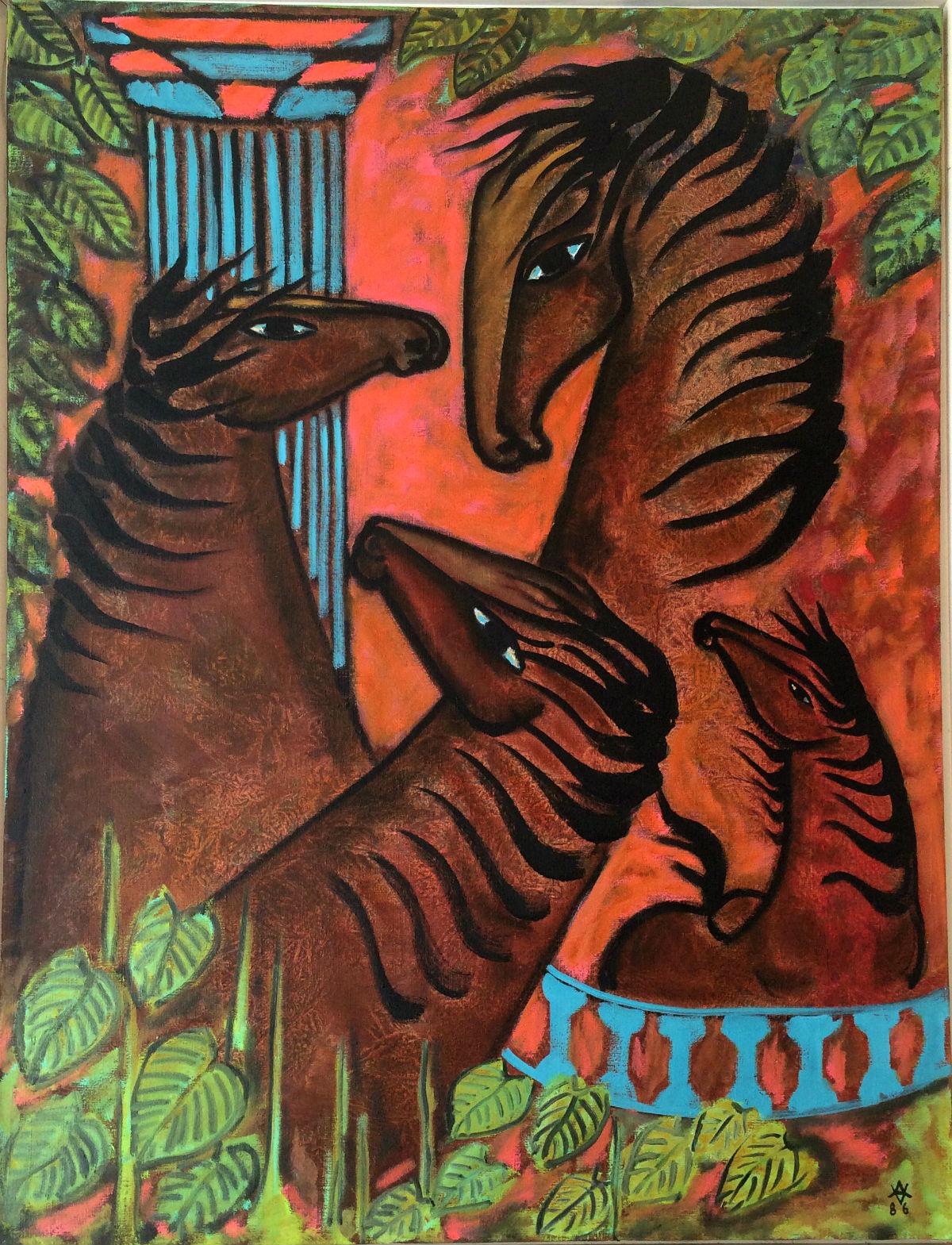 Vibeke Alfeldt - Heste og Blå Søjle - risom